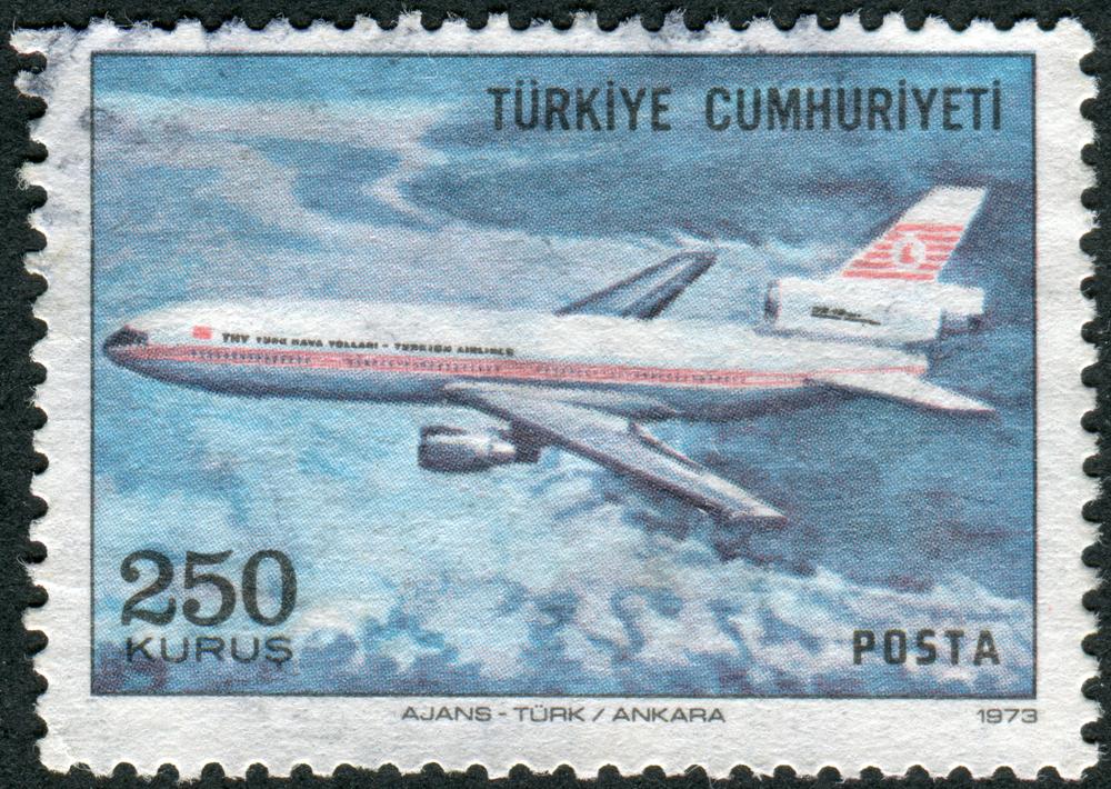 Slide 54 of 70: TURKEY - CIRCA 1973: Postage stamp printed in Turkey, depicted airplane McDonnell Douglas DC-10, circa 1973