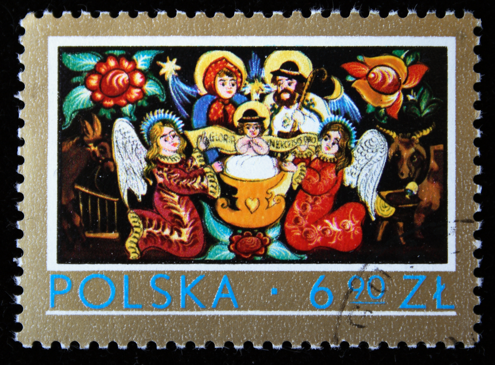 Slide 26 of 70: POLAND - CIRCA 1976: A stamp printed in Poland shows image Christmas Nativity, one stamp from series, circa 1976