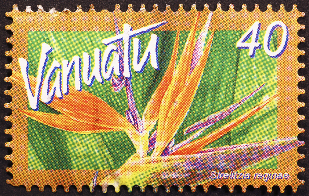 Slide 49 of 70: Milan, Italy - November 18, 2016: Strelitzia flower on postage stamp of Vanuatu