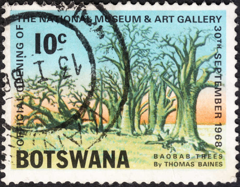"""Slide 56 of 70: MOSCOW, RUSSIA - JANUARY, 2016: a post stamp printed in BOTSWANA shows baobab trees, the series """"Opening of National Museum and Art Gallery"""", circa 1968"""