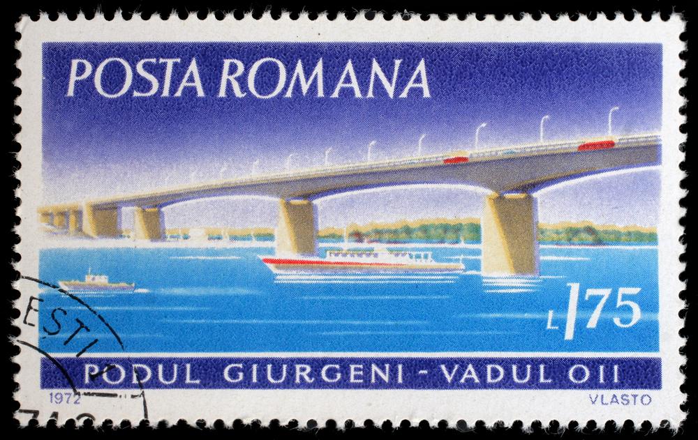 Slide 28 of 70: ZAGREB, CROATIA - JULY 19: a stamp printed in Romania shows Giurgeni Bridge, Vadul, circa 1972, on July 19, 2012, Zagreb, Croatia