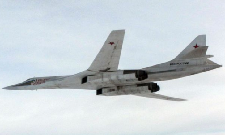 A Russian TU-160 Blackjack bomber of the type which has been intercepted by RAF Typhoons
