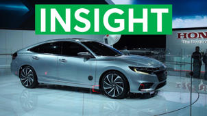 a car parked in a parking lot: 2018 Detroit Auto Show: 2019 Honda Insight Promises Big Fuel Economy
