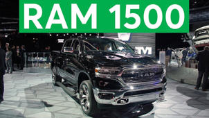 a car parked in a parking lot: 2018 Detroit Auto Show: 2019 Ram 1500 Remains Big and Brawny