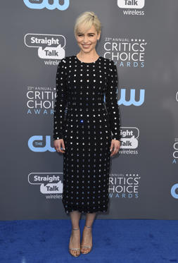 Slide 39 de 61: Emilia Clarke arrives at the 23rd annual Critics' Choice Awards at the Barker Hangar on Thursday, Jan. 11, 2018, in Santa Monica, Calif. (Photo by Jordan Strauss/Invision/AP)