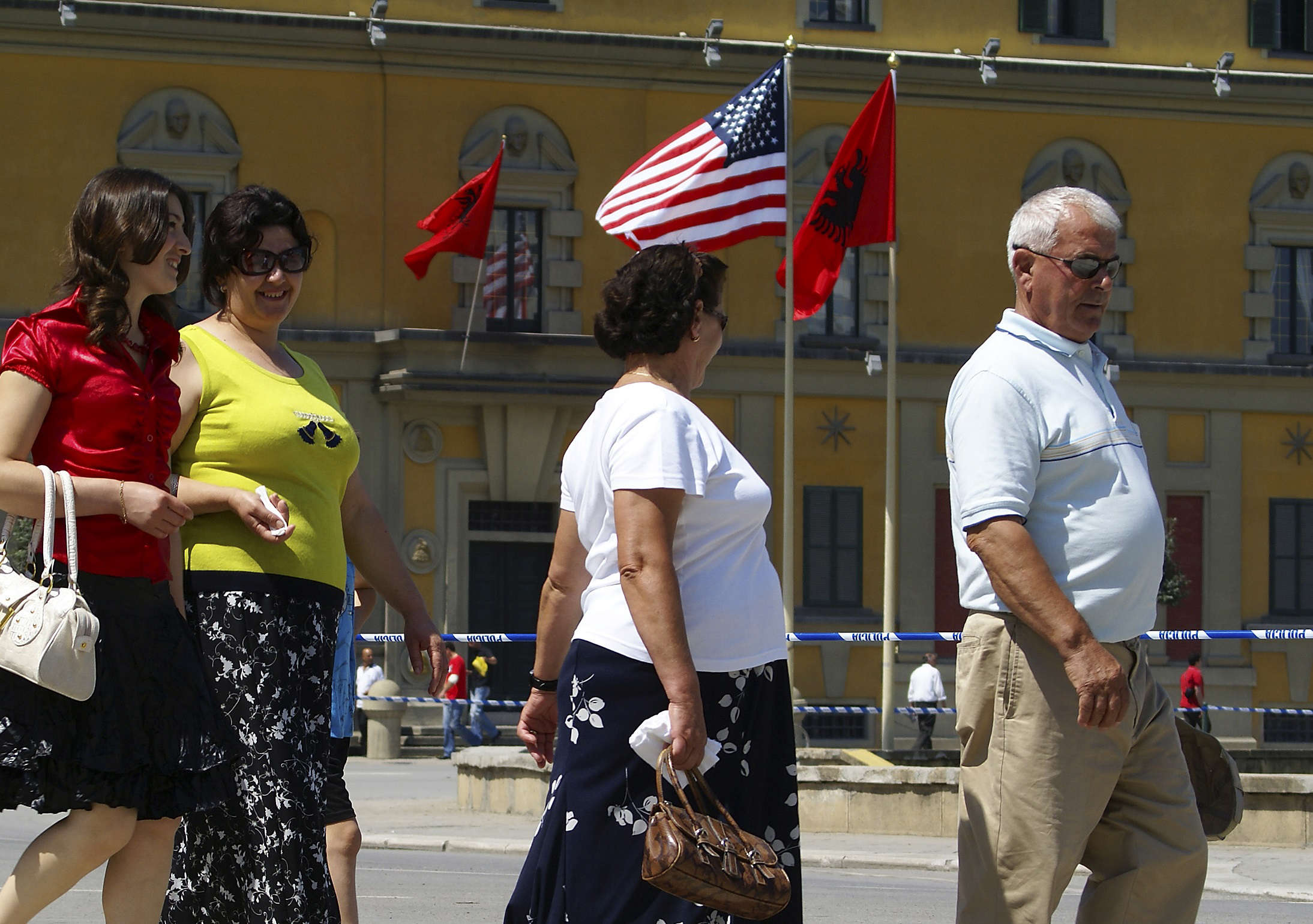 Slide 19 of 35: NBC News -- Pictured: A Tirana family -- U.S. President George Bush visits Tirana, the capital city of Albania on June 10, 2007  (Photo by Andy Eckardt/NBC/NBCU Photo Bank via Getty Images)