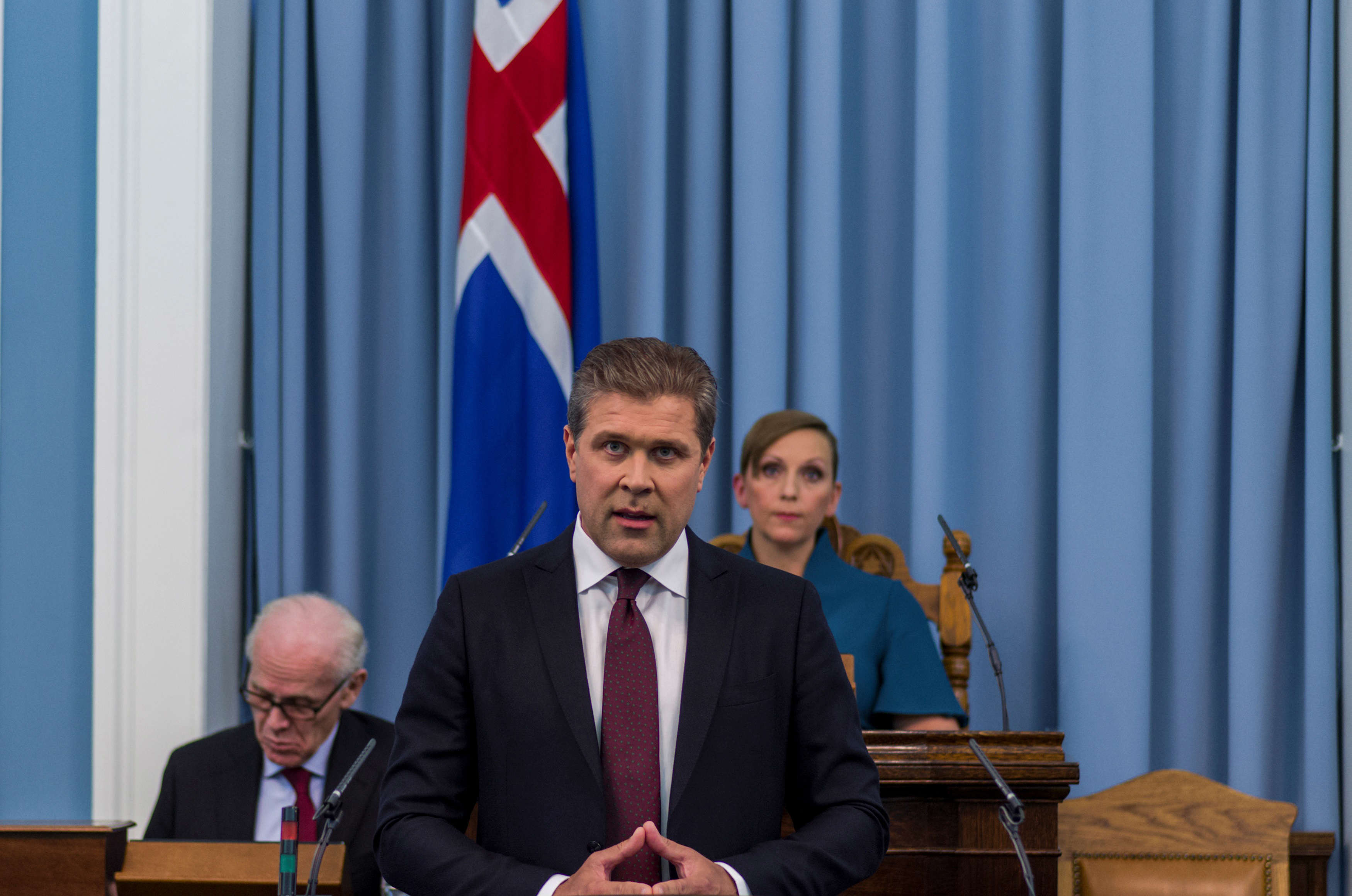 Slide 33 of 35: Prime Minister Bjarni Benediktsson speaks in Parliament in Reykjavik, Iceland, September 13, 2017. REUTERS/Geirix