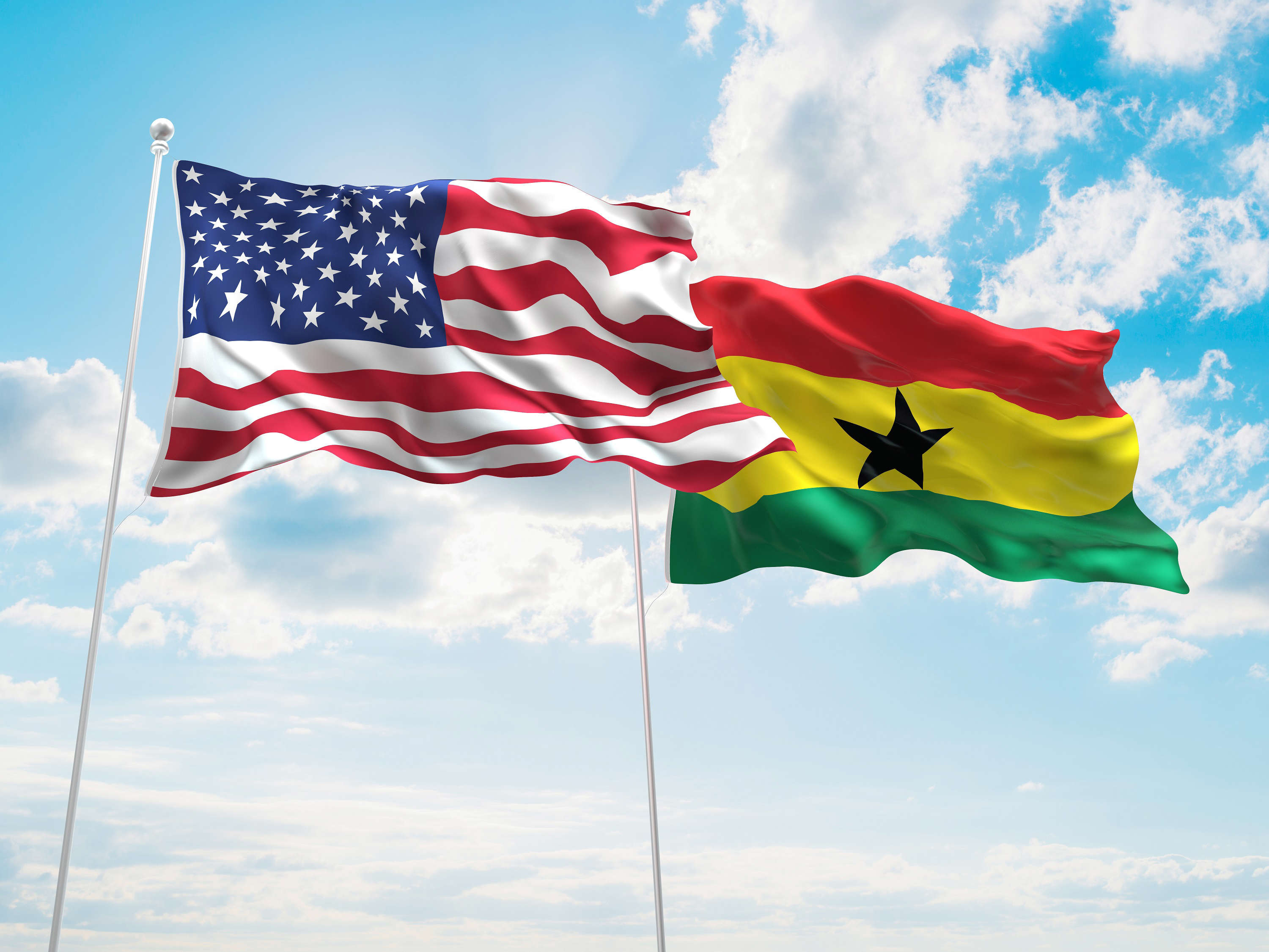 Slide 14 of 35: 3D illustration of United States of America & Ghana Flags are waving in the sky; Shutterstock ID 409376644