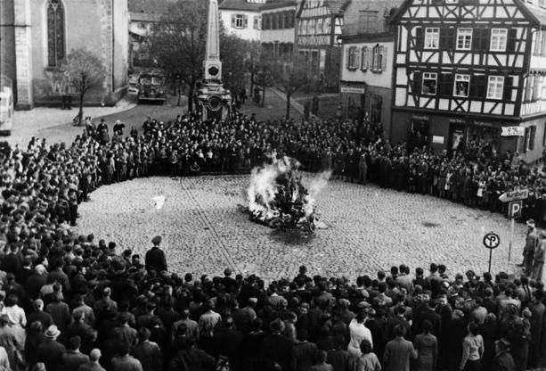 Slide 4 of 10: The furnishings and ritual objects from the synagogue in Mosbach on the town square on 10 November 1938. Found in the collection of State Museum of History, Moscow. (Photo by Fine Art Images/Heritage Images/Getty Images) ** http://www.history.com/this-day-in-history/nazis-launch-kristallnacht https://en.wikipedia.org/wiki/Kristallnacht