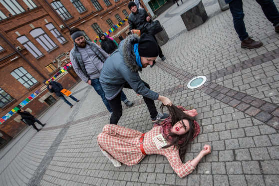 Slide 5 of 37: Russian activists, headed by theatre director Leda Garina, perform during a protest action against a bill decriminalizing domestic violence on January 29, 2017 in Saint Petersburg, Russia. Russian authorities have given final approval to a bill decriminalizing some forms of domestic violence.
