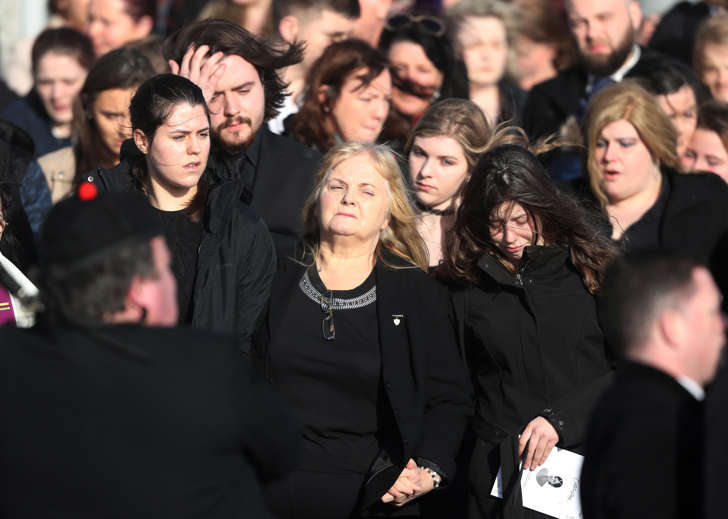 Eileen O'Riordan (centre) following the funeral of her daughter and The Cranberries singer Dolores O'Riordan at Saint Ailbe's Church, Ballybricken.