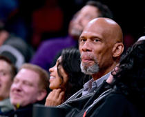 LOS ANGELES, CA - JANUARY 23:  Kareem Abdul-Jabbar in attendance during the game between the Boston Celtics and the Los Angeles Lakers during a 108-107 Laker win at Staples Center on January 23, 2018 in Los Angeles, California.
