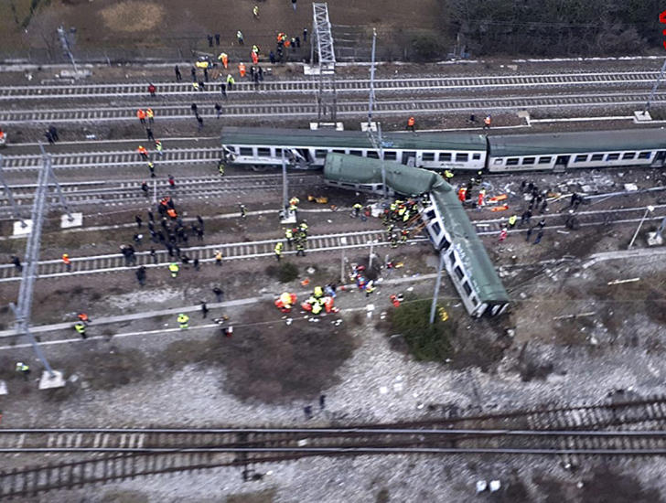 An aerial view shows a derailed train at the station of Pioltello Limito, on the outskirts of Milan, Italy