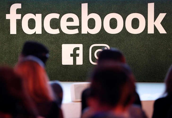 A Facebook logo is seen at the Facebook Gather conference in Brussels, Belgium January 23, 2018.