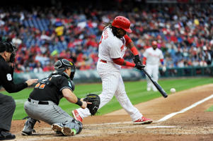 Maikel Franco (7) hits a grand slam in the first inning of the team's baseball game against the Miami Marlins, Saturday, April 7, 2018, in Philadelphia. (AP Photo/Michael Perez)