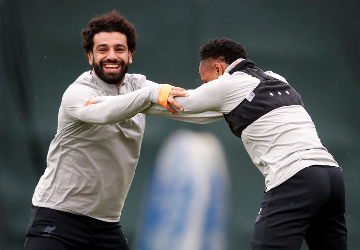 Soccer Football - Champions League - Liverpool Training - Melwood Training Ground, Liverpool, Britain - April 9, 2018   Liverpool's Mohamed Salah and Nathaniel Clyne during training    Action Images via Reuters/Carl Recine