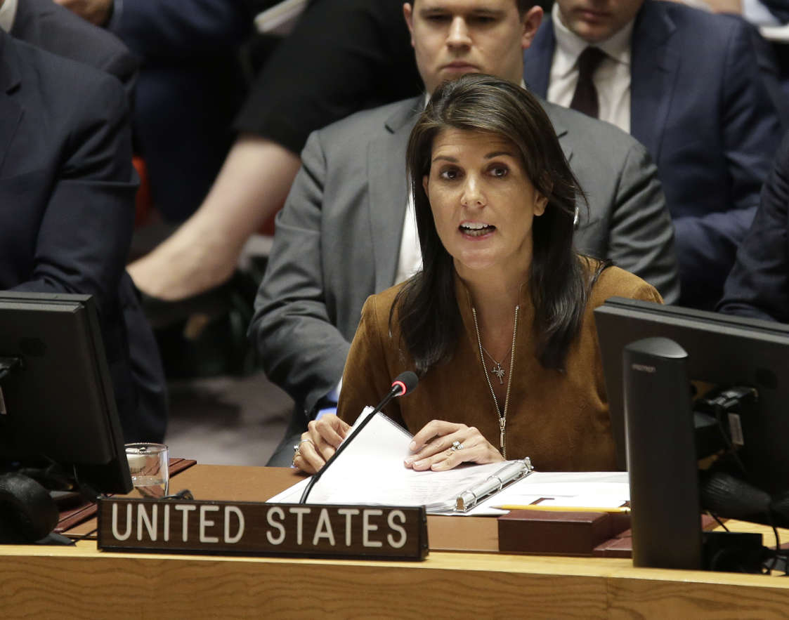 United States Ambassador to the United Nations Nikki Haley speaks during a Security Council meeting at U.N. headquarters, Monday, April 9, 2018. (AP Photo/Seth Wenig)