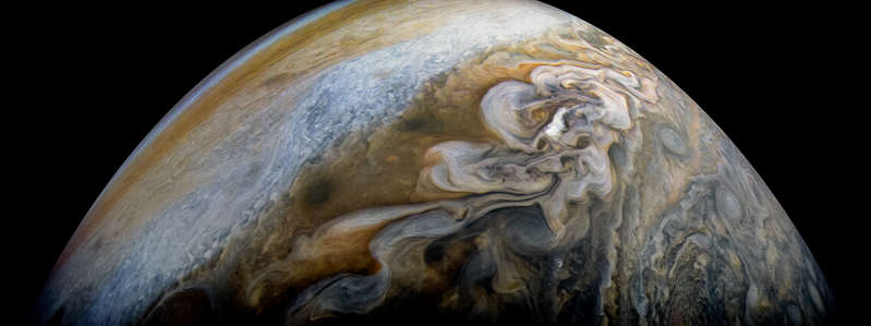 Slide 7 of 86: See swirling cloud formations in the northern area of Jupiter's north temperate belt in this new view taken by NASA's Juno spacecraft. The color-enhanced image was taken on Feb. 7 at 5:42 a.m. PST (8:42 a.m. EST), as Juno performed its eleventh close flyby of Jupiter. At the time the image was taken, the spacecraft was about 5,086 miles (8,186 kilometers) from the tops of the clouds of the planet at a latitude of 39.9 degrees. Citizen scientist Kevin M. Gill processed this image using data from the JunoCam imager.