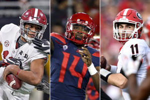 Though we're still months away from the start of the 2018 college football season, spring games and practices are a nice reminder that it's not too early to begin considering who could contend for the Heisman Trophy. There will be no repeat winner with Baker Mayfield headed to the NFL, and the field looks to be wide open with no clear favorite — and a lot of young upstarts who could potentially vie for the famous trophy.  Here are ten leading candidates. It could be a very good year for running backs.