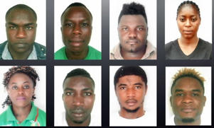The Cameroon athletes missing from the Commonwealth Games Village on Queensland's Gold Coast. (LtoR, top row to bottom row): Fotsala Simplice, Fokou Arsene, Ndzie Tchoyi Christian, Yombo Ulrich, Ndiang Christelle, Minkoumba Petit David, Fouodji Arcangeline Sonkbou and Matam Matam Olivier Heracles.