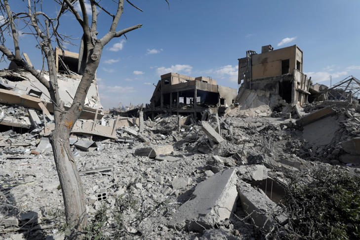 The destroyed Scientific Research Centre is seen in Damascus, Syria April 14, 2018. REUTERS/Omar Sanadiki