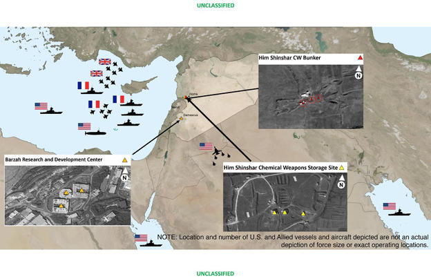 This image shows areas targeted in Syria by the U.S.-led coalition in response to Syria's use of chemical weapons