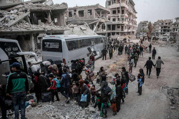 Evacuations continue in Syria's Eastern Ghouta