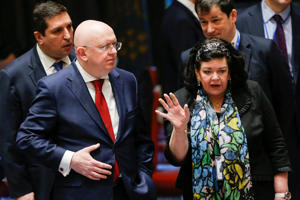 Karen Pierce, UK Ambassador to the United Nations talks with Russian Ambassador to the United Nations Vasily Nebenzya before the emergency United Nations Security Council meeting on Syria at the U.N. headquarters in New York, U.S., April 14, 2018.