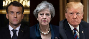 This combination of file pictures created on April 14, 2018 in Paris shows (LtoR) France's President Emmanuel Macron giving a press conference in Paris on March 5, 2018, Britain's Prime Minister Theresa May leaving 10 Downing Street in central London on November 1, 2017, and US President Donald Trump attending a meeting at the White House in Washington, DC, on April 12, 2018.