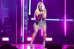 LAS VEGAS, NV - APRIL 15:  Carrie Underwood performs onstage during the 53rd Academy of Country Music Awards at MGM Grand Garden Arena on April 15, 2018 in Las Vegas, Nevada.  (Photo by Jeff Kravitz/ACMA2018/FilmMagic for ACM)