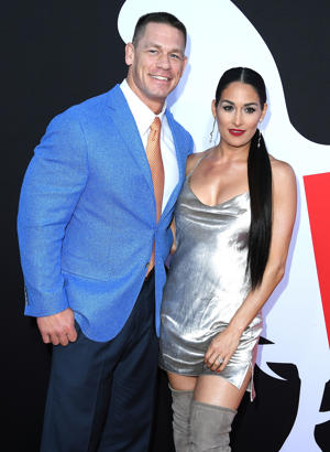 John Cena, Nikki Bella arrives at the Universal Pictures' 'Blockers' Premiere at Regency Village Theatre on April 3, 2018 in Westwood, California.  (Photo by Steve Granitz/WireImage)