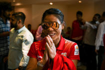Indian boxer Mary Kom gestures as she arrives at a ceremony for the victorious Indian boxing contingent at the 2018 Commonwealth Games, in New Delhi on April 17, 2018.  Indian boxing star Mary Kom on April 17 said she has no plans to retire as her quest for an Olympic gold is still alive at the age of 35. Kom landed a Commonwealth Games gold on her debut in Australia's Gold Coast after winning a unanimous decision in the light-flyweight final last week.  / AFP PHOTO / CHANDAN KHANNA        (Photo credit should read CHANDAN KHANNA/AFP/Getty Images)