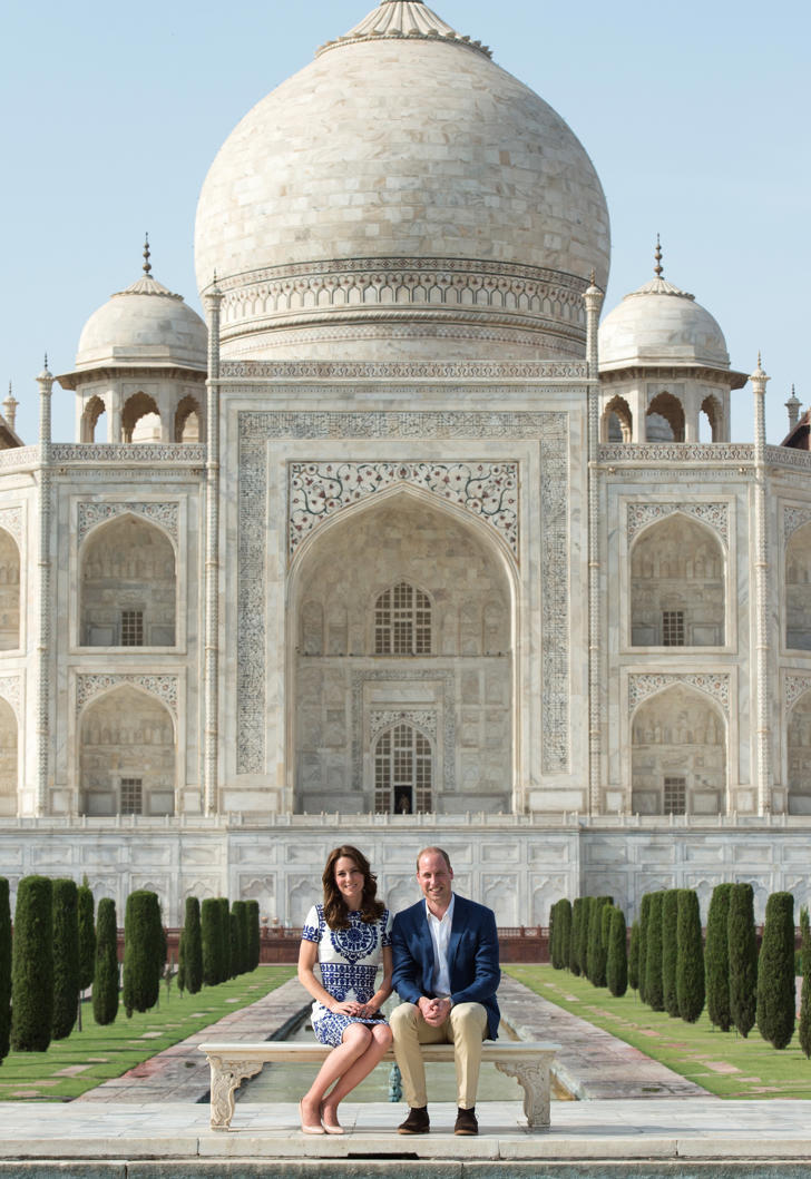 Prince William, Duke of Cambridge and Catherine, Duchess of Cambridge visit the Taj Mahal in Agra, India on April 16, 2016.