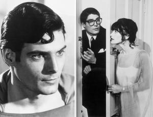 Christopher Reeve as Superman (left) and as Clark Kent (right) with Lois Lane, played by Margot Kidder, in the 1978 film Superman: The Movie.