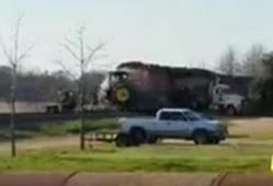Train's head-on collision with tractor caught on video