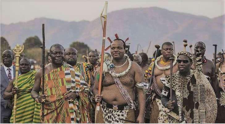 Mswati III (C) attends a traditional ceremony, Umhlanga Festival at Ludzidzini Royal Village in Lobamba, Swaziland