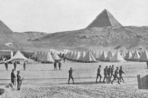 The Australian troops in Egypt encamped near the Pyramids' in 1914.