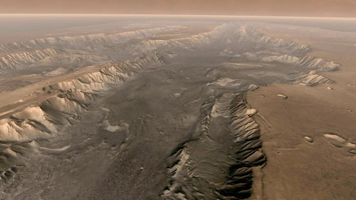 Mars once had ancient oceans. A photo of the Valles Marineris on Mars.