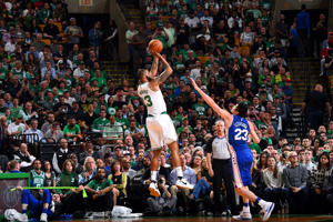 Marcus Morris #13 of the Boston Celtics shoots the ball against the Philadelphia 76ers in Game Two of Round Two of the 2018 NBA Playoffs on May 3, 2018 at the TD Garden in Boston, Massachusetts.  NOTE TO USER: User expressly acknowledges and agrees that, by downloading and or using this photograph, User is consenting to the terms and conditions of the Getty Images License Agreement. Mandatory Copyright Notice: Copyright 2018 NBAE  (Photo by Brian Babineau/NBAE via Getty Images)