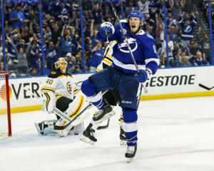 "TAMPA, FL - MAY 6: J.T. Miller #10 of the Tampa Bay Lightning against the Boston Bruins during Game Five of the Eastern Conference Second Round during the 2018 NHL Stanley Cup Playoffs at Amalie Arena on May 6, 2018 in Tampa, Florida. (Photo by Mark LoMoglio/NHLI via Getty Images)""n"