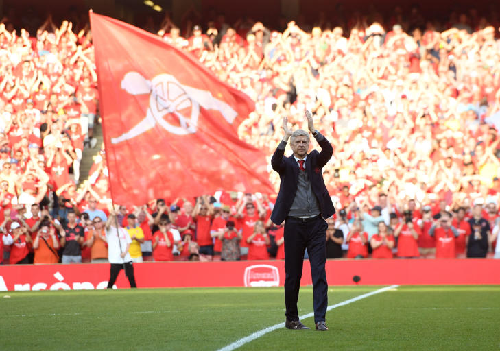 LONDON, ENGLAND - MAY 06:  Arsene Wenger the Arsenal Manager waves to the fans after the Premier League match between Arsenal and Burnley at Emirates Stadium on May 6, 2018 in London, England.  (Photo by David Price/Arsenal FC via Getty Images)