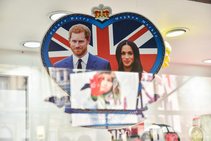 Merchandise for the Royal Wedding of Prince Harry and Meghan Markle on sale in gift shops