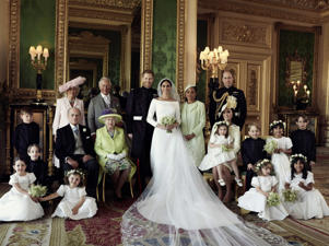 Prince William, Duke of Cambridge et al. standing in front of a mirror posing for the camera: Wonderwall.com is taking a look back at the best photos from Prince Harry and Meghan Markle's wedding day following their nuptials at St. George's Chapel at Windsor Castle in England on May 19, 2018. Keep reading to relive the sweetest and most stunning moments from the royal wedding… starting with this official wedding photograph of the new Duke and Duchess of Sussex with their families, bridesmaids and page boys taken by Alexi Lubomirski in the Green Drawing Room of Windsor Castle.