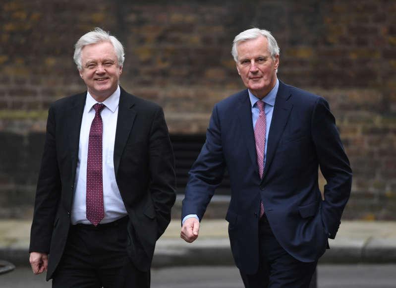 European Commission negotiator Michel Barnier arrives at 10 Downing Street for talks with Brexit Secretary David Davis.