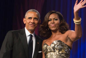File photo: Barack Obama and Michelle Obama depart during the Congressional Black Caucus Foundation's Phoenix Awards Dinner on September 17, 2016 in Washington, DC.
