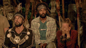 MANA ISLAND - APRIL 27: 'The Finish Line Is In Sight' - Domenick Abbate, Wendell Holland and Kellyn Bechtold at Tribal Council on the eleventh episode of Survivor: Ghost Island, airing Wednesday, May 2 (8:00-9:01 PM, ET/PT) on the CBS Television Network. Image is a screen grab. (Photo by CBS via Getty Images)