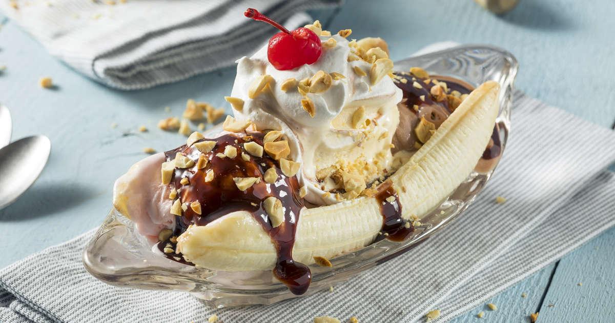 Banana split con plátano macho