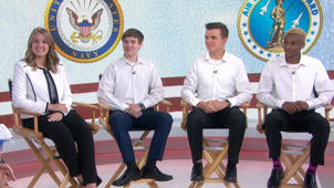 a group of people sitting on a bench posing for the camera: Meet the quadruplets who will serve in 4 different military branches