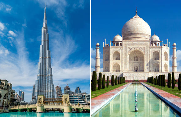 Slide 1 of 26: 02/06/2017 View of Burj Khalifa on a beautiful day, Dubai, United Arab Emirates; Taj mahal on a bright day in Agra, India - A monument of love in clear blue sky