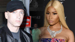 Eminem, Nicki Minaj posing for a photo: Nicki Minaj Says 'Yes,' She's Dating Eminem